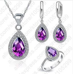 Sterling Silver Coral Bracelet Australia - Free Ship Purple Jewelry Sets Water Drop Cubic Zirconia CZ Stone 925 Sterling Silver Earrings Necklaces Finger Rings