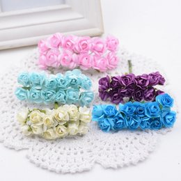 Flowers For Wedding Car Decoration Australia - 144pcs lot 1.5cm Valentine Gift MIni Artificial Paper Rose Flowers Bouquet artificial flowers for wedding car decoration