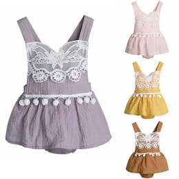 baby girl romper suspenders NZ - Baby Girl Clothes Cotton Linen Girls Dress Romper Suspender Children Jumpsuits Boutique Toddler Playsuit Summer Baby Clothing 4 Color DW5269