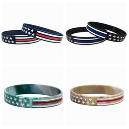 ingrosso band americano-4 stili US Wrist Band US linea rossa blu e American Flag silicone del polso del braccialetto Party Band Favorire ZZA2159