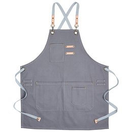 Table grill online shopping - Cotton Apron Men and Women Chef Grill Studio Apron with Adjustable Table Coffee Hairdresser Tooling Gray