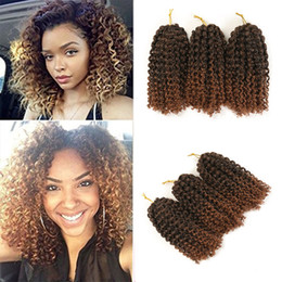 crochet pack NZ - kinky Twist Hair Crochet Braids 8 inches Curly Crochet Hair Crochet Braiding Ombre Synthetic Hair Extensions 3pcs pack