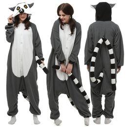 Women's Sleepwears Pajama Sets New Animal Onesies Kingurumi Lemur Pajamas Women/men Long Tail Monkey Flannel Winter Pajama Halloween Christmas Costume