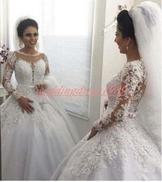 MhaMad wedding dresses online shopping - Elegance Lace Long Sleeve Sheer Arabic Wedding Dresses Said Mhamad Tulle Illusion Bride Dress Vestido de novia Country Bridal Ball Gowns