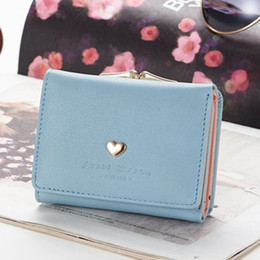 Discount heart metal frame - Women PU Leather Wallet Short Love Heart Tri-fold Gift Portable Small Lock Mini Snap Closure Clutch Purse Metal Frame
