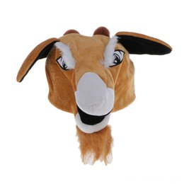 photo funny prop Australia - Novelty Funny Brown Plush Cartoon Goat Animal Hat Hats & Caps Hats, Scarves & Gloves Party Costume Photo Props