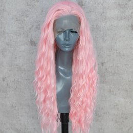 party queen make up Canada - Light Pink Color Hand Tied Natural Wave Cosplay Drag Queen Make Up Hair Wigs Synthetic Lace Front Party Wigs Free Part