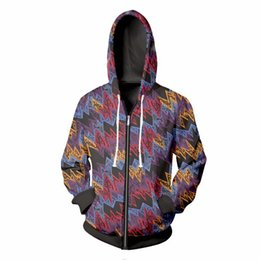 zip up sweatshirt hoodies Australia - New design Men Women Zipper Hoodies Harajuku style Hoody Tracksuit 3d Unisex Graffiti wave All print Zip-up Hooded Sweatshirt