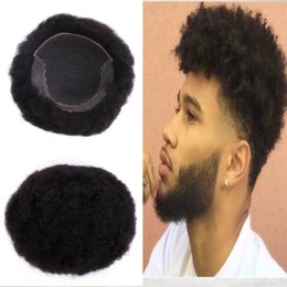 $enCountryForm.capitalKeyWord NZ - Afro Curly Human Hair Toupee For Men Swiss Lace Curly Men Toupee Replacement System Lace Front With Pu Back 8x10 Black Men Hairpieces