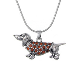DachshunD Dogs online shopping - my shape Drop Shipping Dachshund Weenie Pet Dog Breed Brown Crystal Pendant Silver Plated Necklace Jewelry