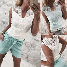 Wholesale New Summer Woman Clothes Lace Hollow Slim Casual Blouses Lady Sleeveless V neck Sexy Shirt Tops White Light Blue