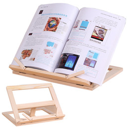 Wholesale books end for sale - Group buy Adjustable Portable wood Book stand Holder wooden Bookstands Laptop Tablet Study Cook Recipe Books Stands Desk Drawer Organizers