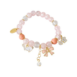 $enCountryForm.capitalKeyWord UK - Japan Beaded Animal Rabbit Bowknot Bracelets with Sakura Flower Cute Fake Pink Crystal Charms Bracelet For Kids Student Girl