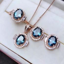 5e09e917ccae Shilovem 925 plata esterlina real Natural topacio azul Anillos colgantes  pendientes de boda Joyería fina abierta nuevas mujeres ctz0507088agb