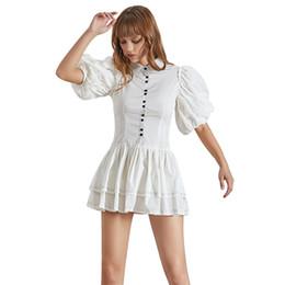 f216bec6c82e Casual White Dress For Women Lapel Puff Sleeve High Waist Ruffles Button Mini  Dresses Female Fashion Summer 2019