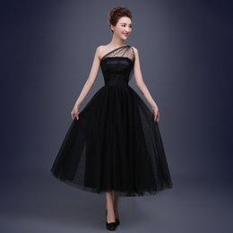 best evening gowns Australia - Best Selling Black Prom Dresses One Shoulder Pleats Polka Dot Tulle Tea Length Party Evening Gowns Short Vestido De Festa Y19072901