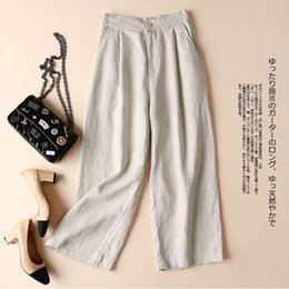 Thin Cotton Trousers Australia - Plus Size Trousers Women Cotton and Linen Wide Leg Pants Thin Casual Pants OL Professional Loose Ankle Length
