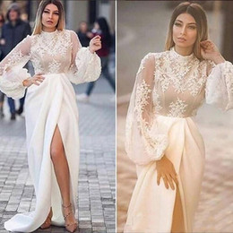 $enCountryForm.capitalKeyWord Australia - Fashion High Neck Wedding Dresses White 2019 Lace Applique Illusion Long Sleeves Bridal Gowns Side Split Sexy Summer Formal Dress
