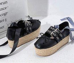 $enCountryForm.capitalKeyWord Australia - Casual Vintage Chunky Sole Ballet Women Shoes Flat Platform Grass Weave Buckle Metal Decor Cross-Tied Hollow Female Shoes Wholesale as111