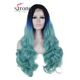 blue synthetic lace front wigs NZ - Long Wavy Synthetic Lace Front Wigs Heat Resistant Dark Roots Black Blue Ombre Hair Wig COLOUR CHOICES