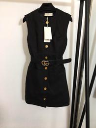 femmes haut de gamme filles Cady gilet lettre double ceinture chemise robe patchwork unique une ligne sans manches poitrine jupe robes de design de mode milan en Solde