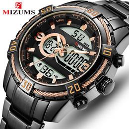 Quartz Box Australia - MIZUMS Top Brand Men Army Sport Watches Male LED Analog Digital Quartz Clock Black Stainless Wristwatches + Gift Box