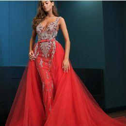 $enCountryForm.capitalKeyWord Australia - Evening dress Yousef aljasmi Labourjoisie Zuhair murad James_paul1 Long Dress Ball Gown V-Neck Red Sequins Beaded Tulle Crystal Tulle