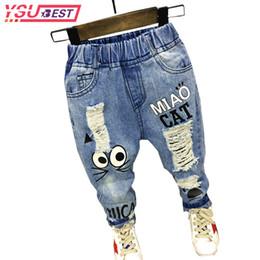 Jeans Children Cartoon Australia - 2019 Cartoon Boys Jeans Children Broken Hole Pants Trousers Spring Brand Baby Boys Girls Jeans 2-7y Kids Clothes Baby Girl Jeans J190517