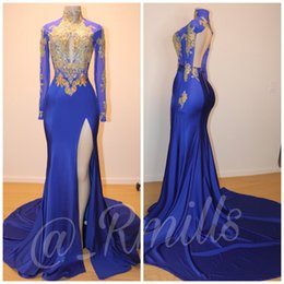 See through pageant dreSSeS online shopping - Modern Sheer Long Sleeve Split Side Prom Dresses African Mermaid See Through Hollow Evening Gowns Ruffles Celebrity Pageant Wear Custom