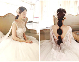 cowls robe UK - Cowl Backs Wedding Dresses Round Neck Ball Gown Wedding Dresses Long Tail Wedding Dress Sleeveless Bridal Gown robe de mariée