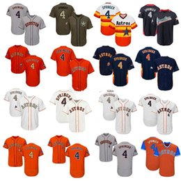 navy blue baseball jerseys UK - Men Women Youth Astros Jersey 4 Springer Jersey White Gray Grey Navy Blue Orange Gold Green Salute to Service Players Weekend All-Star
