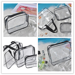 Piece Cosmetic Bag Wholesale Australia - 3pcs=1set transparent wash cosmetic bag pvc 3 piece set travel wash storage bag home travel outdoor storage bag ST108