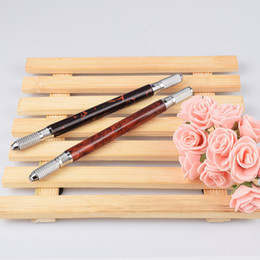 Advanced Aluminum Australia - Advanced Microblading Tattoo Pen with Double Heads Manual Pen for Eyebrow Microblading Tattoo 50pcs Lot Free Shipping