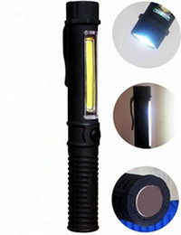 Working Pen Australia - COB LED Pocket Pen Light Inspection Work Light Flashlight with Clip Portable Car Repairing Hand Torch lamp Use AAA Battery