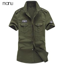 khaki outdoor shirts men Australia - MANLI Plus Size M-6XL 2018 Men Summer Outdoor Short Sleeve Shirt Man 100% Pure Cotton Afs Jeep Khaki Shirts Army Green Clothing