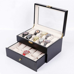 Clear Wood Glasses Australia - Collection Wood Finish Watch Case Display Storage Watch Box Chest With Glass Clear Viewing Top Holds 20 Watches 2 Layer Storage
