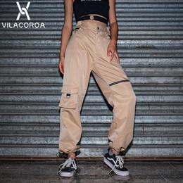 4432a8ada6765 Moda de cintura alta botón de la cremallera pantalones de pierna ancha para  mujeres Modis suelta ropa deportiva delgada pantalones de las mujeres  Streetwear ...
