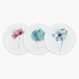 Round Kitchen Sets Australia - Modern Nordic Watercolor Flowers Floral Art Ceramic Coasters Creative Girls Gifts Hotel Home Bar Kitchen Accessories Pad Mat Set