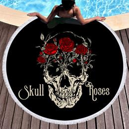 $enCountryForm.capitalKeyWord NZ - 1 Pcs Skull Rose Summer Round Beach Bath Towel With Tassel Microfiber 150cm Tapestry Picnic Yoga Blanket Bikini Cover Up Carpet