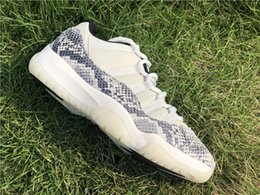 Mesh Fiber Australia - 2019 Hot Authentic 11 Retro Low SE Snakeskin White 11S Man Basketball Shoes Real Carbon Fiber Sports Sneakers CD6846-002