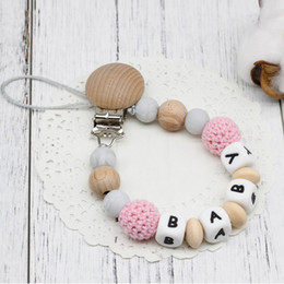 CroChet baby teether online shopping - New Diy Personalised Name Baby Natural Wooden Crochet Pacifier Chain Clip Silicone Beads Handmade Dummy Clip Teether Toys Gifts