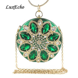 clutch bag party green NZ - Round Crystal Evening Bags Women's Day Clutches Fashion Bags Handmade Wedding Purse Diamonds purse Party shoulder