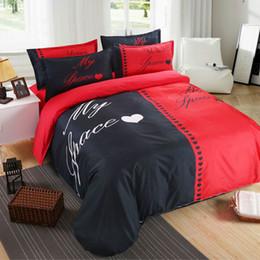 $enCountryForm.capitalKeyWord NZ - Polyester Cotton Home Textile Red Black Bedding Set Couples Duvet Cover Pillowcase White And Black Lover Bedding