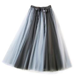 Tail bow online shopping - Woman Patchwork Tule Plywood Rok Female Tall Tail Mesh Rok Female Summer Herf Midi Rokken Saias Faldas Grand Zoom Smoking