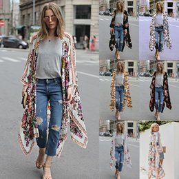 $enCountryForm.capitalKeyWord NZ - Elegant Floral Printed Kimono Blouses Shirt Women Fashion Long Cardigan Tops Summer Casual Beach Bohemian Chiffon Bikini Wwimwear Cover Ups