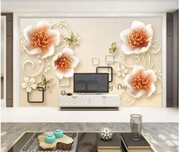Houses wallpapers online shopping - WDBH d photo wallpaper custom mural Carved jewel flower modern minimalist home decor living Room d wall murals wallpaper for walls d