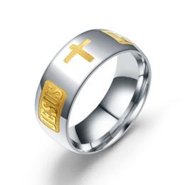 2646069362f9 Joyería clásica Carta de acero inoxidable Anillos bíblicos Negro Plata Rosa Oro  Jesús Cruz Anillo Para Hombres Mujeres Oración