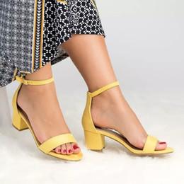 Leopard Sandals Australia - New High Heels Women Sandals Gladiator Summer Buckle Strap Yellow Shoes Ladies Sexy Block Heel Open Toe Leopard Sandals Big Size