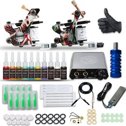 Wholesale Complete Tattoo Kit 2 Guns Machines 10 Colors Ink Disposable Needles Tips Grip Power Supply D175GD-17