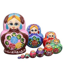 pure toys NZ - Russian nesting doll 10 PCS authentic douyin toys creative 10 PCS decoration of pure handmade gifts of basswood Free Shipping
